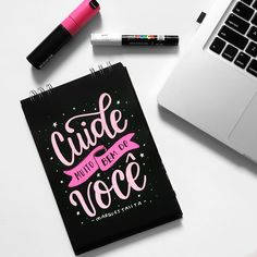 Take good care of you/Portuguese Lettering Tutorial, Brush Lettering, Lettering Design, Top Blogs, Calligraphy Letters, Journal Inspiration, Words Quotes, Typography, Bullet Journal