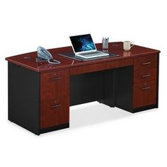 Locking Double Pedestal Executive Bowfront Desk #officefurniture #contemporary | National Business Furniture