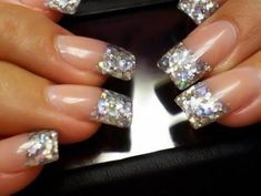 Luv these silver sparkle French manicure nails! Get Nails, Fancy Nails, Prom Nails, Love Nails, Trendy Nails, Hair And Nails, Wedding Nails, Homecoming Nails, Gorgeous Nails