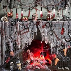 Hair-Raising Halloween Mantel Decorating Ideas - Party City: How gruesomely fun?
