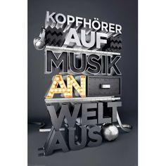 Poster: Kopfhörer Auf, Musik an, Welt aus online te koop. Bestel je poster, je 3d filmposter of soortgelijk product Deco Panel 60x90
