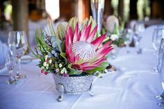 """Madiba"" King Protea named after Nelson Mandela Protea Bouquet, Protea Flower, Floral Bouquets, Wedding Table Decorations, Centerpiece Decorations, Wedding Centerpieces, Protea Centerpiece, Centrepieces, Water Centerpieces"