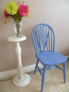 Blue Wheel Back Chair - Up-cycled in Annie Sloan Chalk Paint & Clear Wax (Greek Blue)