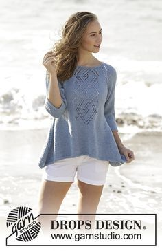 Celtic Knot jumper with raglan, lace pattern and a-line, worked top down by DROPS Design Free Knitting Pattern