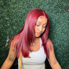 Straight 99J Burgundy Color 13x4 Lace Front Wigs Human Hair Wigs