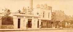 vol 47 fig 472. Entrance to North London Baths and part of Queen's Row, c. 1863–5. All demolished Islington Local History Collection photograph