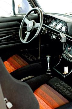 70's car interior design: BMW 2002 with Recaro seats