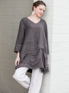 ETLOIS-USA-Linen-TRUE-TUNIC-Long-A-line-Artsy-Multi-Pleated-Top-S-M-L-XL-TAUPE