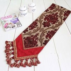 FADFAY Vintage Luxury Style Thicken Jacquard Chenille Table Runner Lake Blue Grape Coffee Floral Tassel Dinning Table Decorations One Piece Table Centerpieces, Table Decorations, Table Flag, Bed Runner, Tablerunners, Dinning Table, Center Pieces, French Country, Decorative Pillows