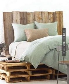 Pallet bed shown with Pine Cone Hill Chambray Linen Ocean Duvet Cover & Shams Pallet Bedframe, Pallet Furniture Bed, Wooden Pallet Furniture, Furniture Ideas, Repurposed Furniture, Pallett Bed, Office Furniture, Palette Furniture, Pallet Headboards