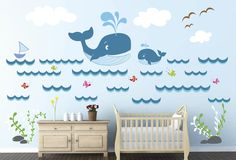 Whale Ocean Fishes Wall Decal Print