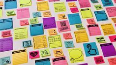 Assortment of colorful sticky notes that have been printed on... Google slides template included!