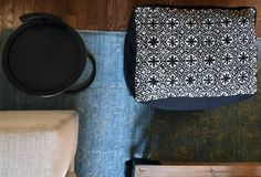 After moving countries, a Lebanese home décor took her business to Etsy - Metis Etsy Shop - Geometric Arabesque Embroidered Sofa Pouf