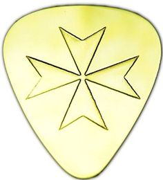 "Amazon.com: Unique & Custom [0.38mm Thin Gauge - Traditional Style Semi Tip] Hard Luxury Guitar Pick Made of Genuine Solid Brass w/ Malese Iron Cross Design ""Gold Yellow Colored"" {Single Pick}: Musical Instruments"