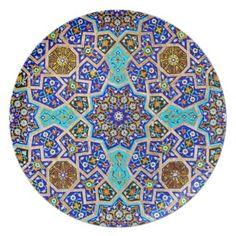 Tile Turkish Iznik Girih Ethnic Colorful Pattern Party Plate