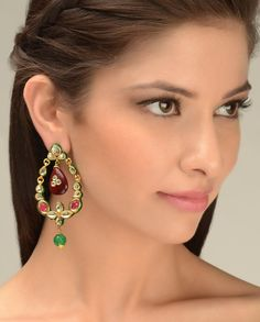 Leaf Shape Kundan Earrings  by Just Jewellery