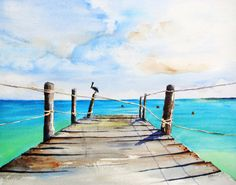 ORIGINAL Watercolor Painting Old Wooden by CarlinArtWatercolor