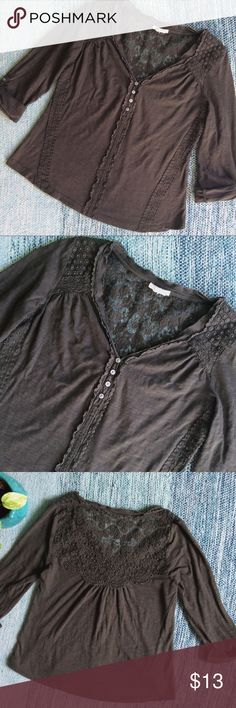Anthropologie Meadow Rue Crochet Blouse Gently loved. Light pilling in fabric, but other than that, still good condition!  Casual and pretty pullover blouse. Long sleeves with roll up tab. Subtle v neckline with four buttons down the middle. Delicate crochet lace detail on the back. Earthy dark moss green (almost brown) color.   Size : small   Brand : Meadow Rue from Anthropologie   If you have any questions, feel free to ask. Bundle more items for better discounts! Reasonable offers always…