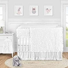 Perfect for your Baby and Nursery Sweet Jojo Designs White Floral Vintage Lace Baby Girl Nursery Crib Bedding Set – 5 pieces – Solid Crinkle Crushed Velvet Luxurious Elegant Princess Boho Shabby Chic Luxury Glam Flower Boutique Ruffle,Sweet Jojo Designs White Floral Vintage Lace Baby Girl Nursery Crib Bedding Set - 5 pieces - Solid Crinkle Crushed Velvet Luxurious Elegant Princess Boho Shabby...