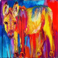 He's Into Color, a colorful burro oil painting by Barbara Meikle artwork
