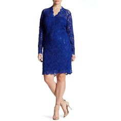 Marina V-Neck Sequin Lace Dress (Plus Size) ($60) ❤ liked on Polyvore featuring plus size women's fashion, plus size clothing, plus size dresses, plus size, royal, sequin cocktail dresses, white lace cocktail dress, plus size white dress, plus size sequin dress and long sleeve lace dress