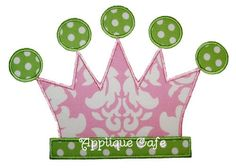 034 Tiara Machine Embroidery Applique Design by AppliqueCafeDesigns on Etsy https://www.etsy.com/listing/181475393/034-tiara-machine-embroidery-applique