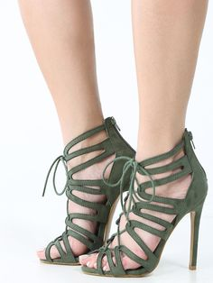 Cut Out Lace Up Caged High Heels Olive