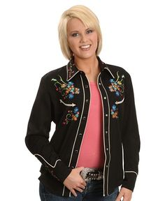 Scully Floral Embroidered Retro Western Shirt