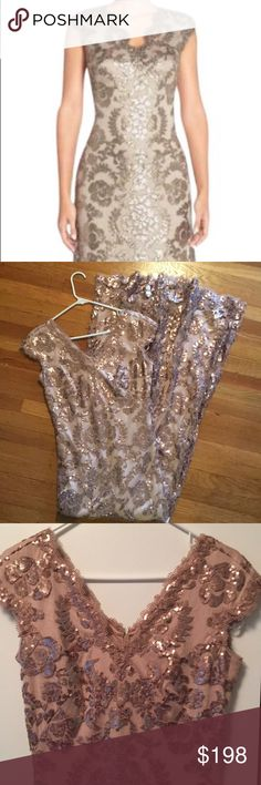 Tadashi Shoji -long sequins gown,worn 1x for 4hrs Worn once, no signs of wear or pulls, formal event, I check the gown carefully for pulls etc. it's like new, see tags for color code and style number for your research, I'm 36b, 29jeans, and 6'1, fits me very well Tadashi Shoji Dresses