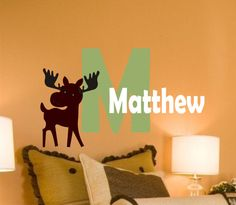 Moose Monogram Vinyl Wall Decal- Childrens Bedroom - Baby Nursery Wall Art -Vinyl Lettering~ Also needs an S and to say Solomon instead of Matthew. :)