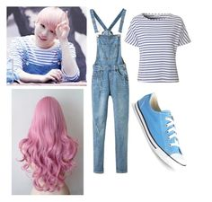 """Seventeen Woozi Inspired Outfit"" by angelonearth02 on Polyvore featuring Glamorous and Converse"
