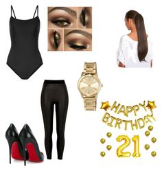 """""""21st birthday photoshoot outfit 2"""" by msclarke on Polyvore featuring Ballet Beautiful, River Island, Christian Louboutin and MICHAEL Michael Kors"""