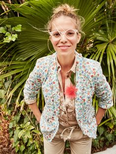 J.Crew Looks We Love: women's Campbell blazer with ruffle trim in Liberty® Edenham floral, garment-dyed fatigue shirt and distressed boyfriend chino.