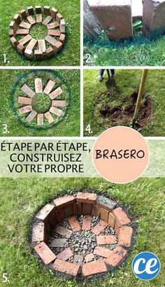 DIY Round Brick Firepit Tutorial, how to build a simple backyard fire pit in the ground with bricks and gravel. DIY Round Brick Firepit Tutorial, how to build a simple backyard fire pit in the ground with bricks and gravel. Diy Fire Pit, Fire Pit Backyard, Backyard Patio, Backyard Landscaping, How To Build A Fire Pit, Cheap Fire Pit, Garden Fire Pit, Brick Garden, Building A Fire Pit