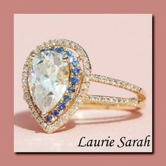Pear cut Moissanite with Blue Sapphire & Diamond Double Halo - LS1460