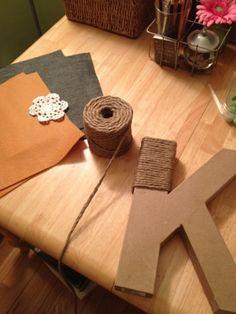 Twine on cardboard letters -city dwellin' blog