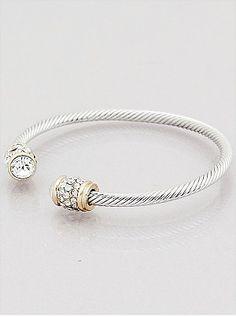 RHINESTONE END CABLE CUFF BRACELETS 66-603733-D bijoux