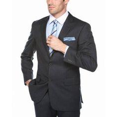 Verno Men's Black Pinstriped Notch Lapel Classic Fit Suit, Size: 42L/36W