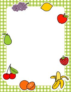Colorful fruit page border with apples, bananas, pears, and more. Free downloads available at http://pageborders.org/download/fruit-border/