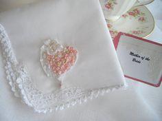 Pink Heart Wedding Keepsake Handkerchief Handmade by handcraftusa