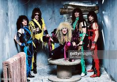 AJ Pero, Jay Jay French, Dee Snider, Mark Mendoza and Eddie Ojeda of Twisted Sister, group portrait, out-take from the 'Stay Hungry' album cover shoot, New York City, United States, 1984.