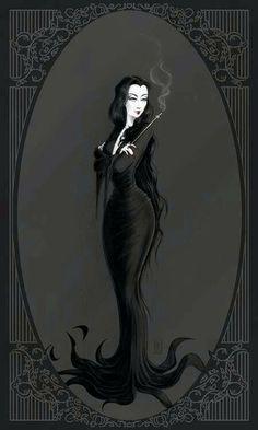 Morticia Addams~The Addams Family Morticia Addams, Die Addams Family, Adams Family, Goth Art, Arte Horror, Art Graphique, Halloween Art, Macabre, Dark Art