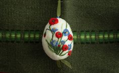 Needle felting white easter egg with poppies, wool easter decoration. on Etsy, $18.00