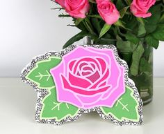 Rose card with free svg studio cut files