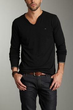 Men's Fashion: Black Long-sleeved T-shirt, Black Jeans & Brown Belt.