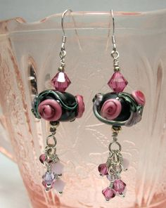 Lampwork Earrings, Sterling Silver Earrings, Black with ... by StoneDesignsbySheila on Etsy
