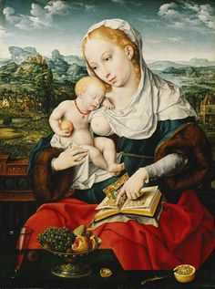Virgin and Child, ca. 1525  Joos van Cleve  Oil on wood  Two iconographic themes are combined here: the joys of motherhood and the sorrowful premonition of Christ's death. The image of the Virgin and her sleeping child contains a reference to the Pietà, and the fruit, as well, symbolizes Christ's death and sacrifice. The verses in the illuminated prayer book are taken from the Magnificat, celebrating the Annunciation and the De Profundis (employed in the Mass for the dead).