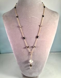 Herkimer Diamond, Black Spinel, 24K gold filled chain and wire necklace by StonesToAdorn on Etsy