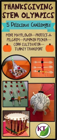 Blog post outlines 5 fun & fabulous Thanksgiving-themed STEM challenges that can be modified for use with grades 2-8. Follow the journey of the Pilgrims as they sail to America (Mini Mayflower), create shelter (Protect-a-Pilgrim), gather food (Pumpkin Picker), cultivate the land (Corn Cultivator), and make time for fun (Turkey Transporter).