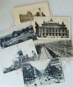 French Postcards - Paris Scenes-Antique Early 1900's French Paris Travel Postcards Greetings Photos Opera House Sacre Couer Jardin de Tuiler...